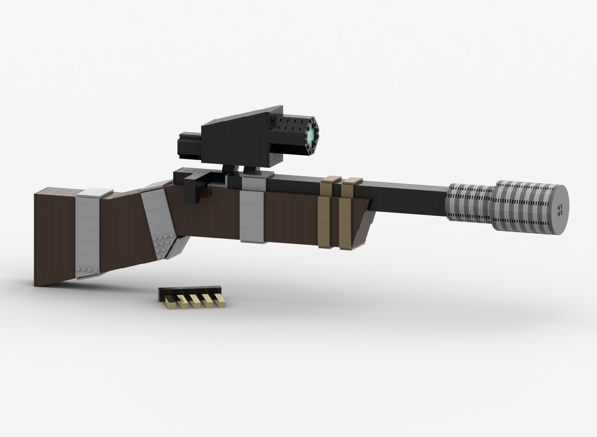 Makeshift Pine Rifle with a makeshift attachments and a rifle clip, made out of Lego bricks.